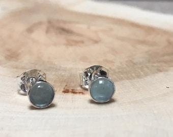 Semi Precious Aquamarine & SterlingSilver Stud Earrings, Aquamarine Earrings, Aquamarine Studs, Gemstone Studs, Aquamarine, Gemstone Earring