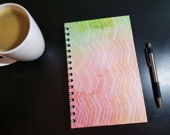 Pink and Green Watercolor Wirebound A5 Notebook - Wire Bound Journal Wire Bound Notebook Contact Book Art Journal Bullet Journal