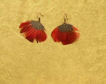 Red parrot feather earring