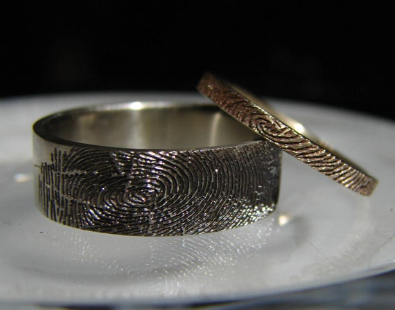 Fingerprint jewelry. Detailed fingerprint engraved in 14k yellow gold. Free Priority shipping in the USA