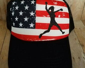 Softball American Flag Trucker Hat... Perfect Cap for any occasion...  Great gift...