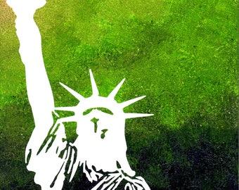 Print Statue of Liberty / Green / White / Ellis Island / 8 x 10 PRINT / Statues / NYC