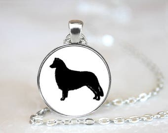 Border Collie Silhouette Pendant Necklace Jewelry Handcrafted Made to Order One Inch Pendant