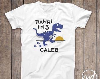 Personalized Dinosaur Birthday Shirt Boy, Any Age 1 2 3 4 5 6, Boy Dinosaur Birthday Shirt, Rawr Birthday Shirt