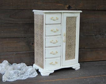Shabby Chic Jewelry Box, Ivory, Chocolate, Damask, Upcycled, Jewelry Armoire, Hand Painted, Decoupage, Tall, Large, Wood, Gift for Her