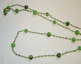 A-7 Art Glass Bead Necklace