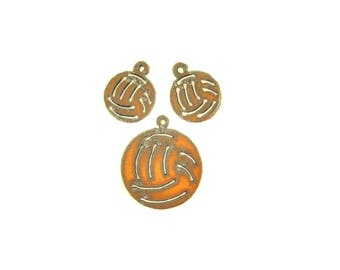 Volleyball Rusty Metal Pendant/Charm And Earrings 3-Piece Set