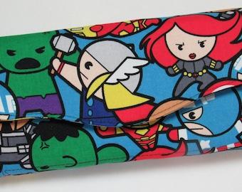 Necessary Clutch Wallet in Marvel Avengers / Superhero Fabric - Credit Cards, Organizer, Hulk, Iron Man, Captain America, Thor, Black Widow