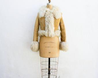 VINTAGE 1970s Lambskin Suede Cropped Leather Jacket | Boho Hippie Festival Fur Coat | Sherling Tan Motorcycle Jacket | Yaqub Jacket