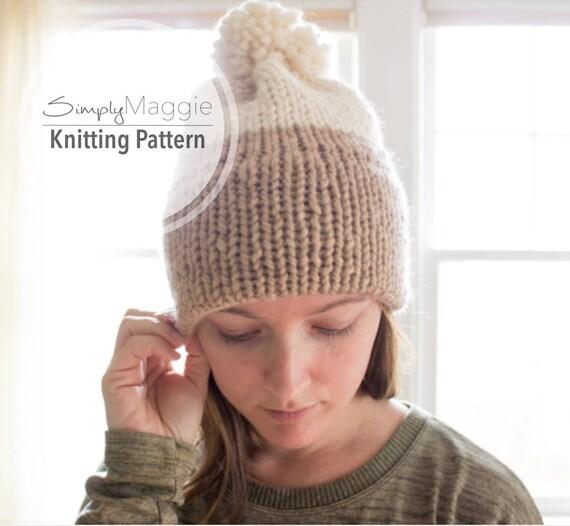 Knit Brimmed Hat Pattern : Double-Knit Brim Slouchy Beanie Pattern // Knit Beanie