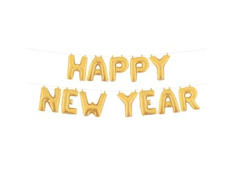 New Years Eve Wedding Decoration NYE Wedding Happy New Years Banner Gold Silver Foil Mylar Letter Balloons Garland