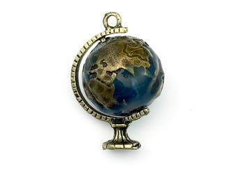 1 earth globe 3D enamel and bronze tone,25mm x 37mm #CH 310