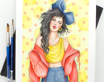 Bluebow - Original Watercolour Painting / Fashion Illustration / Watercolour Art