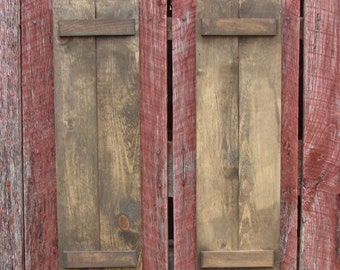 "Decorative rustic wood shutters  Two in a set 24"" high and 7"" wide, many colors and size's."
