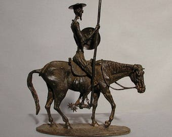 Vintage BRONZE Sculpture of Don Quijote 3 by Arte Moreno  -- New 725.88-- 395.00 Picasso look!
