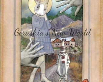 NEW - The Guardian of Alouette's First Hymn  - ORIGINAL, Collage, Mixed Media, Surreal, anthropomorphic, animal art