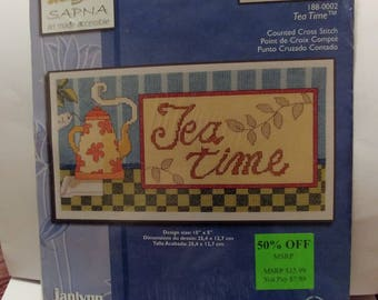 Janlynn counted cross stitch kit #188-0002 Tea Time New Sealed