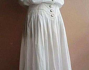 Retro White Dress - Japanese Vintage  Dress