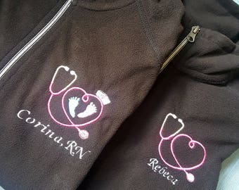 Embroidered Micro fleece Jacket.   Labor and delivery.  Mother baby. Maternity. Personalized workplace jacket.
