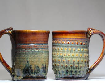 two 10oz handmade pottery mugs