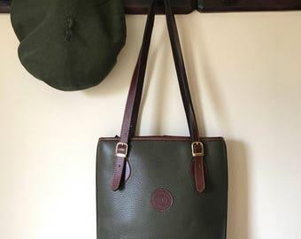 Vintage Talabarteria Crespo Argentinian Dark Green Leather Bucket Bag / Shoulder Bag