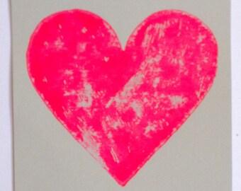 Neon pink heart print