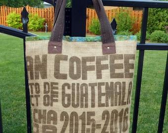 Repurposed Burlap Coffee Sack Tote, Market Bag   Guatemala  Batik Lining