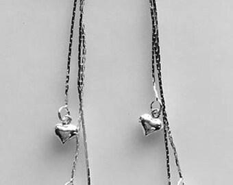 Long Triple Sterling Silver Chain Heart or Star Dangle Earrings - Tiny Hearts or Stars - Minimalist Earrings