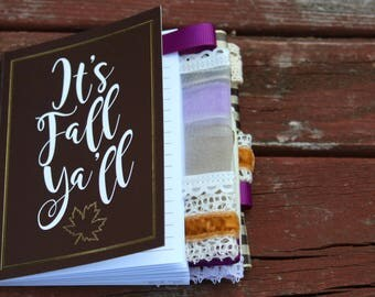 It's Fall Y'all Dark Brown Mini Altered Journal