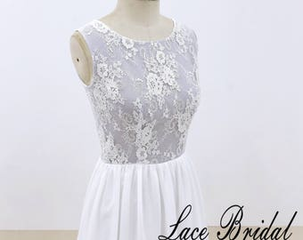 Chiffon Wedding Dress with Dusty Blue Underlay Lace Wedding Dress A Line Wedding Gown Beach Wedding Dress