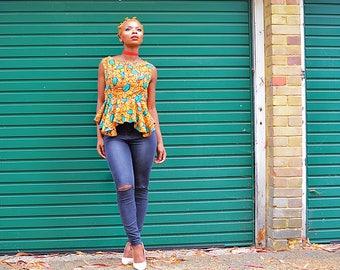 Charlie Peplum Blue Beige top Ankara African Clothing African Print Top African Fashion Women's Clothing African Fabric Ankara Fashion