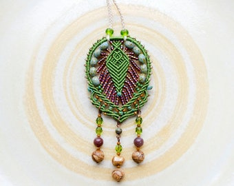 Macrame necklace, micro-macrame jewelry, gemstone, Picasso glass, rustic, boho beadwork, beadwoven, green brown, free spirit style, bohemian
