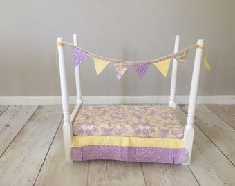 Newborn Photography Prop Bedding Set Includes Bedding and Banner