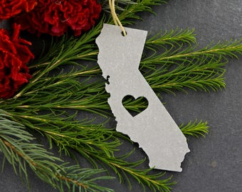 Love California Christmas Ornament Home State Rustic Aluminum Gift for Her Him Spring Decor Wedding Cali Personalized Stocking Stuffer