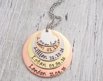 Personalized Grandma Necklace, Mom Necklace, Kids' Names and Birthdate Jewelry