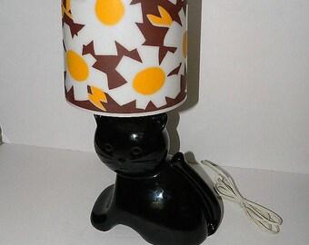 Retro 1970s Black Ceramic Cat Light with White Daisy Lamp Shade Hand Made in Canada