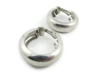 Vintage Hoop Earrings, Silver Tone, Clip Ons