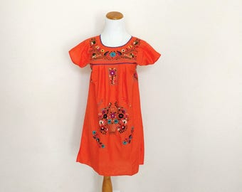 Vintage Mexican dress embroidered floral flowers short mini orange hippie boho girls size 8 adult small xs