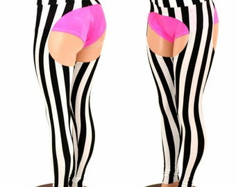 Chaps in UV GLOW Vertical Black & White Stripe Print - 154980