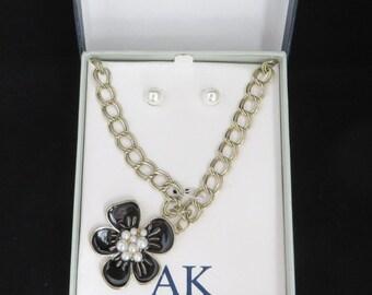Anne Klein Jewelry Set, Vintage Gold Tone Blue Flower Necklace, Faux Pearl Pierced Earrings Set, Demi Parure