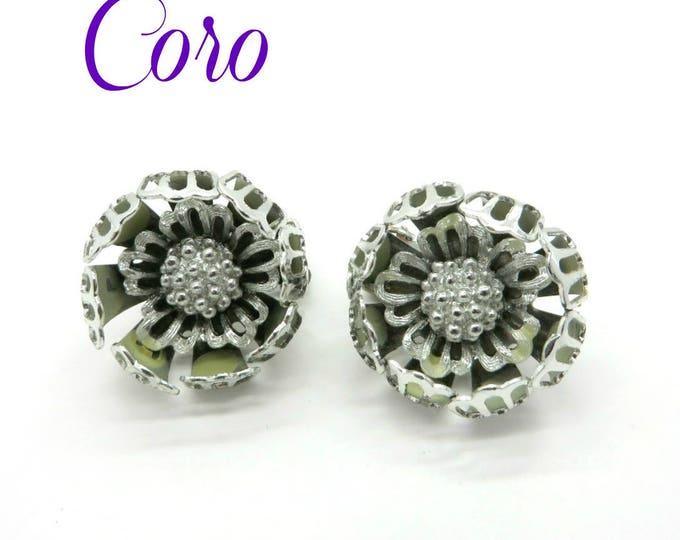 Coro Silvertone Flower Earrings, Vintage Floral Clip-on Earrings, Signed Coro Jewelry