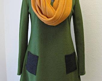 Winter wool dress khaki green mush