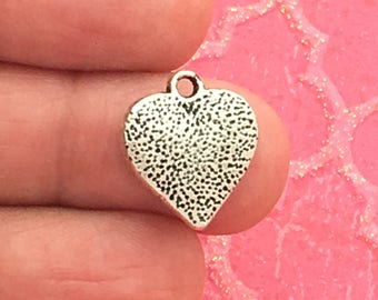 12 Silver Heart Charm Pendant 16x14mm by TIJC SP0296