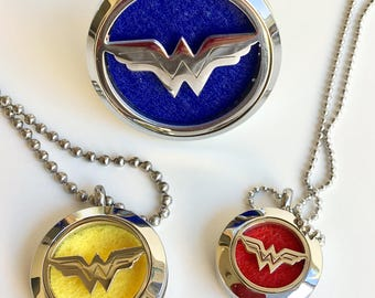 Superhero oil necklace - stainless steel - Essential oil car diffuser - Women's