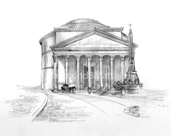Pantheon Rome Italy pen and ink pencil drawing illustration fine art print matted