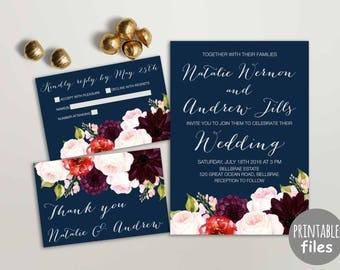 Floral Wedding Invitation Suite, Printable Wedding Invitation, Navy Burgundy Wedding Invitation, Spring Summer Wedding Invitation Pink Navy