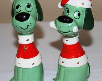 Vintage Green Dogs in Christmas Sweater Salt and Pepper Shaker Set