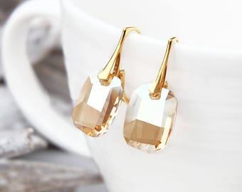 Champagne Swarovski crystal earrings, Gold bridal earrings, Drop bridesmaids earrings, Bridesmaids gift, Sterling Silver Rose gold earring 9