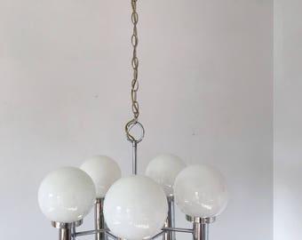 Mid Century Modern Atomic Chandelier - Chrome Glass Globe  - Ceiling Light - Pendant - Light Fixture - Eames Era