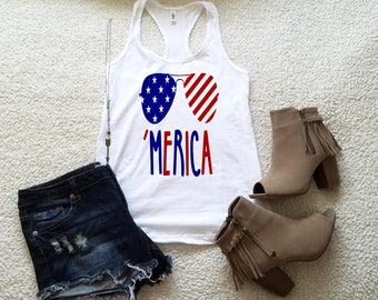 Merica 4th of July tank top tank top for women in racerback funny saying graphic slogan tumblr instagram gift